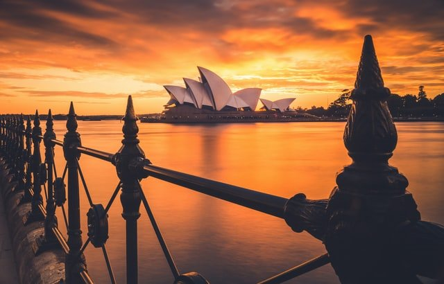 Sunset over Sydney Opera House from Circular Quay